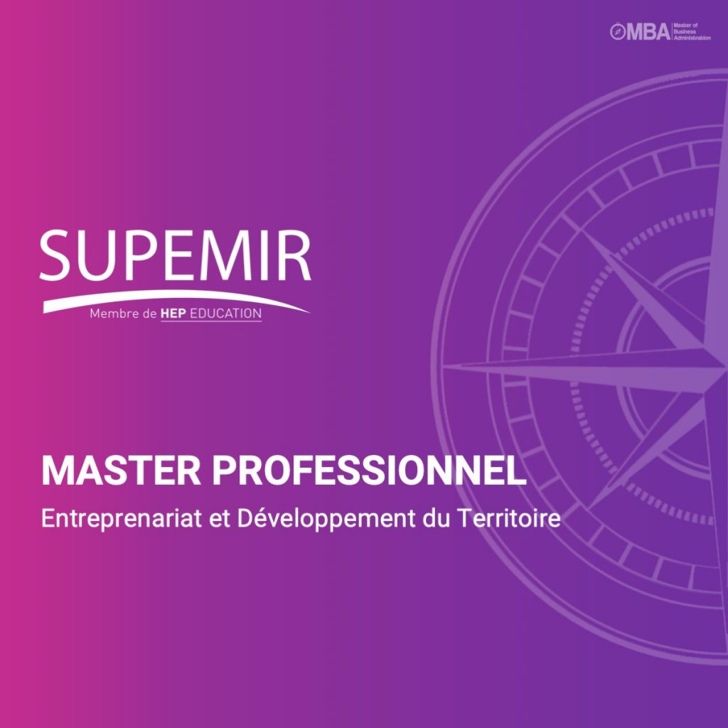 Master professionnel entreprenariat et developpement du territoire- Supemir