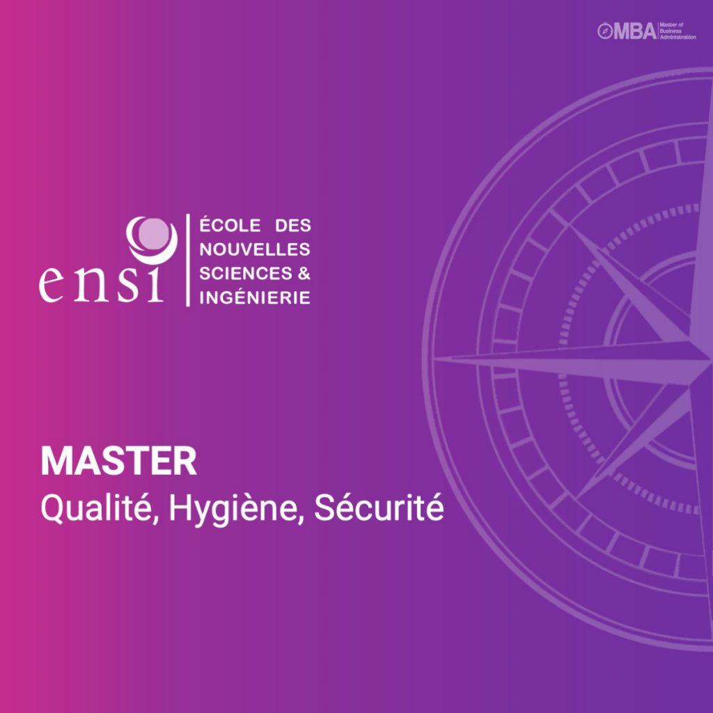 Master en qualité, hygiène et sécurité - ENSI