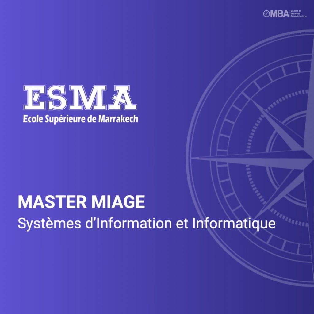 Master MIAGE en Systèmes d'Information et Informatique- ESMA