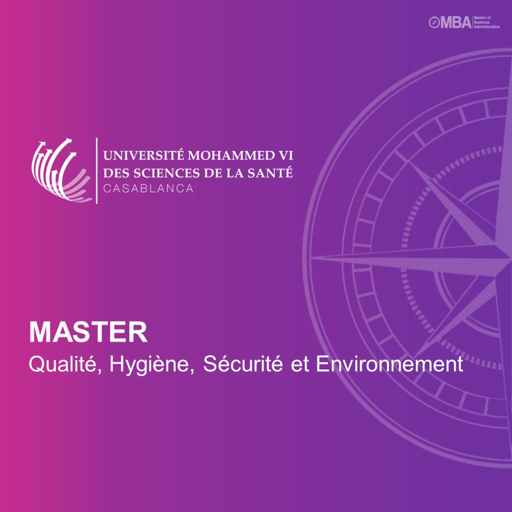 Master en Qualité, Hygiène, Sécurité Environnement QHSE – UM6SS