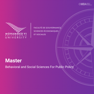 Master en Behavioral and Social Sciences For Public Policy - UM6P